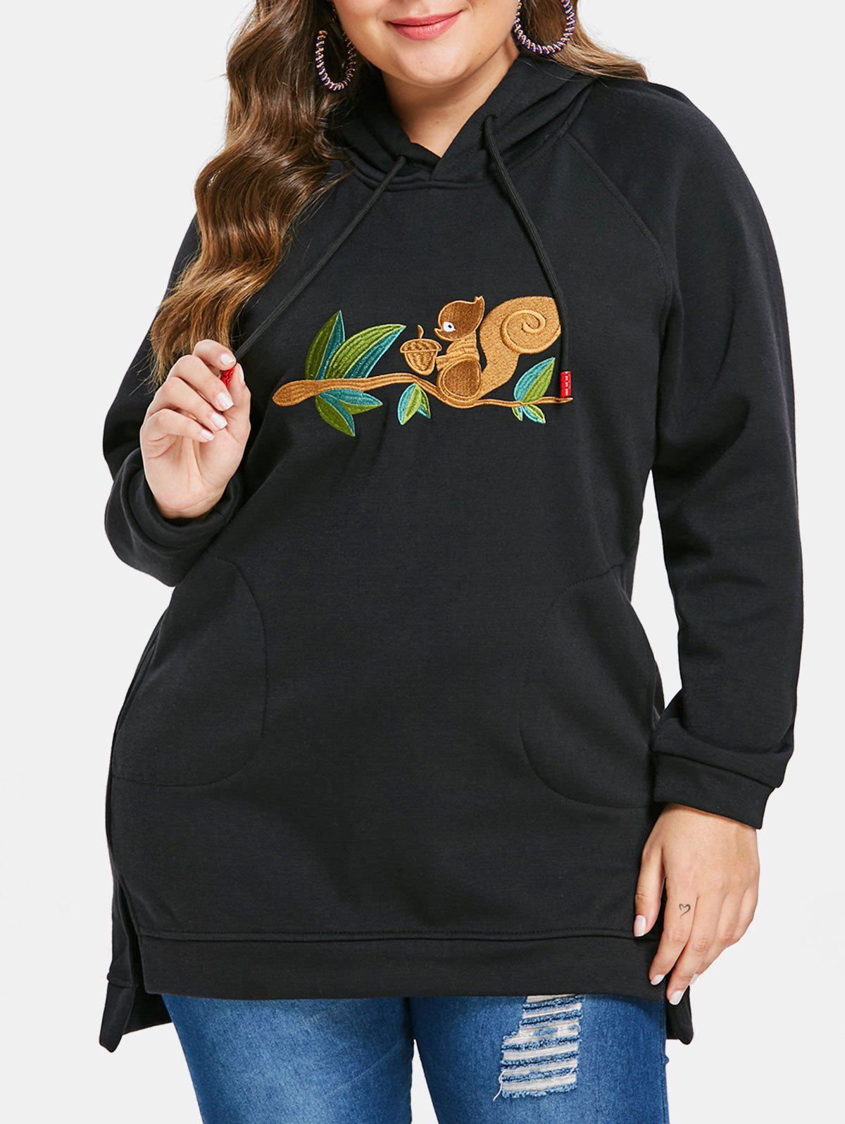 Plus Size Drawstring Front Embroidery Hoodie - BLACK 2X