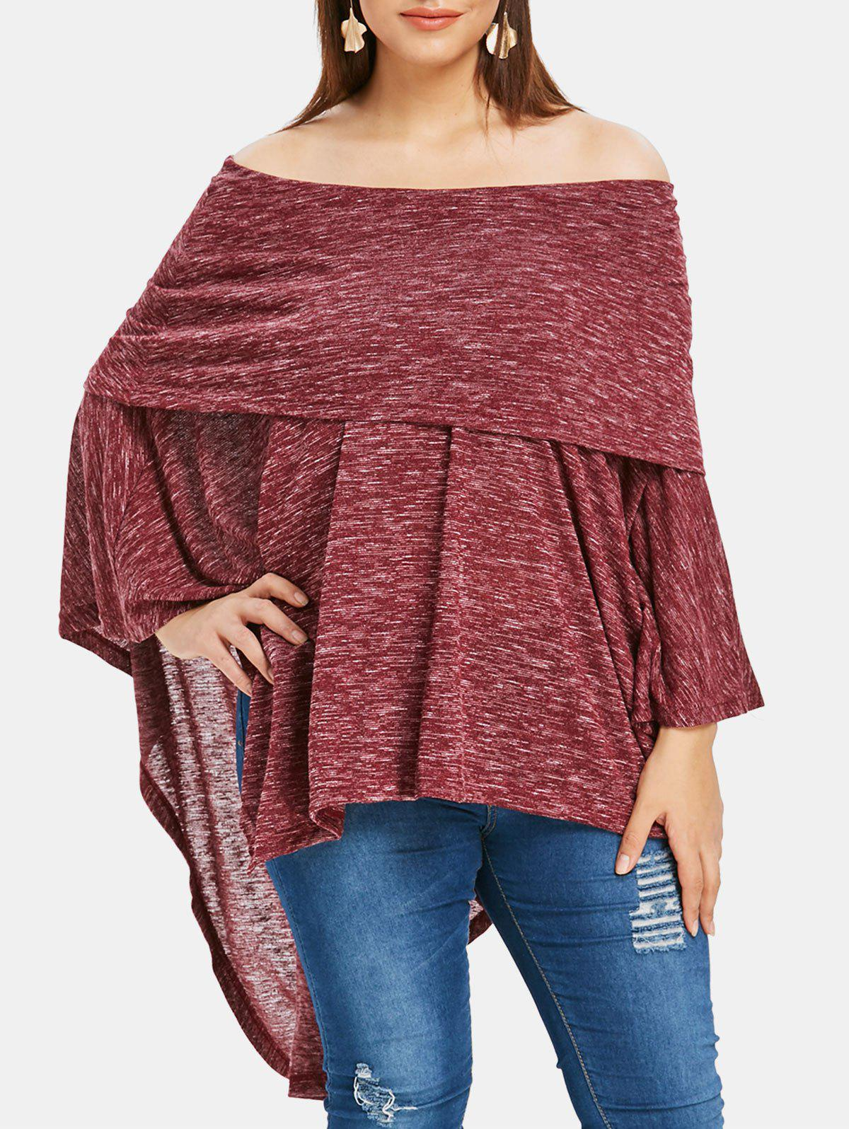 Plus Size Off The Shoulder Foldover Asymmetrical T-shirt - RED WINE 3X