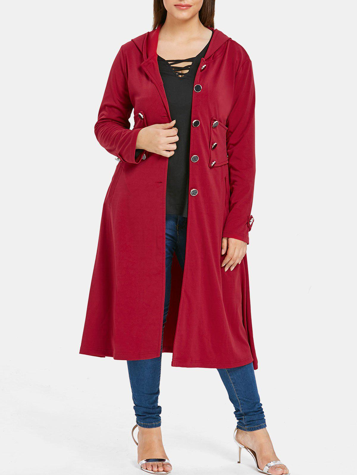 Plus Size Hooded Skirted Coat
