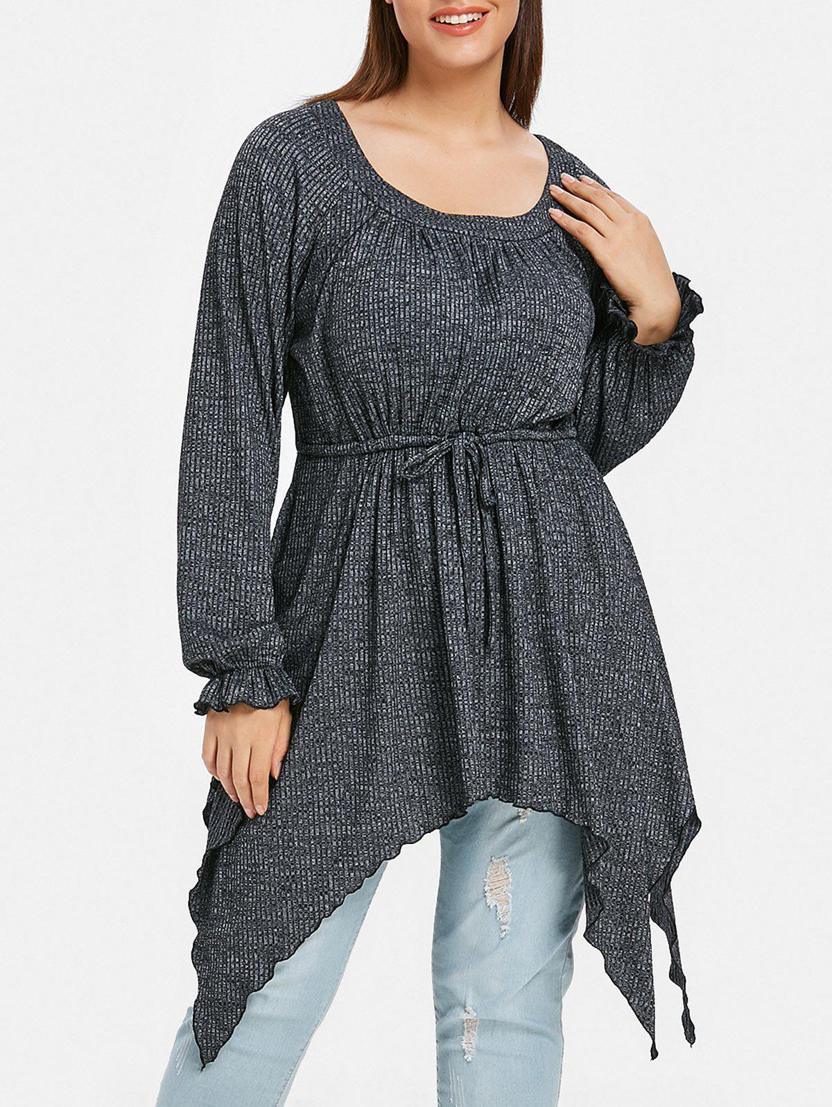 Plus Size Drawstring Asymmetrical  Knitwear