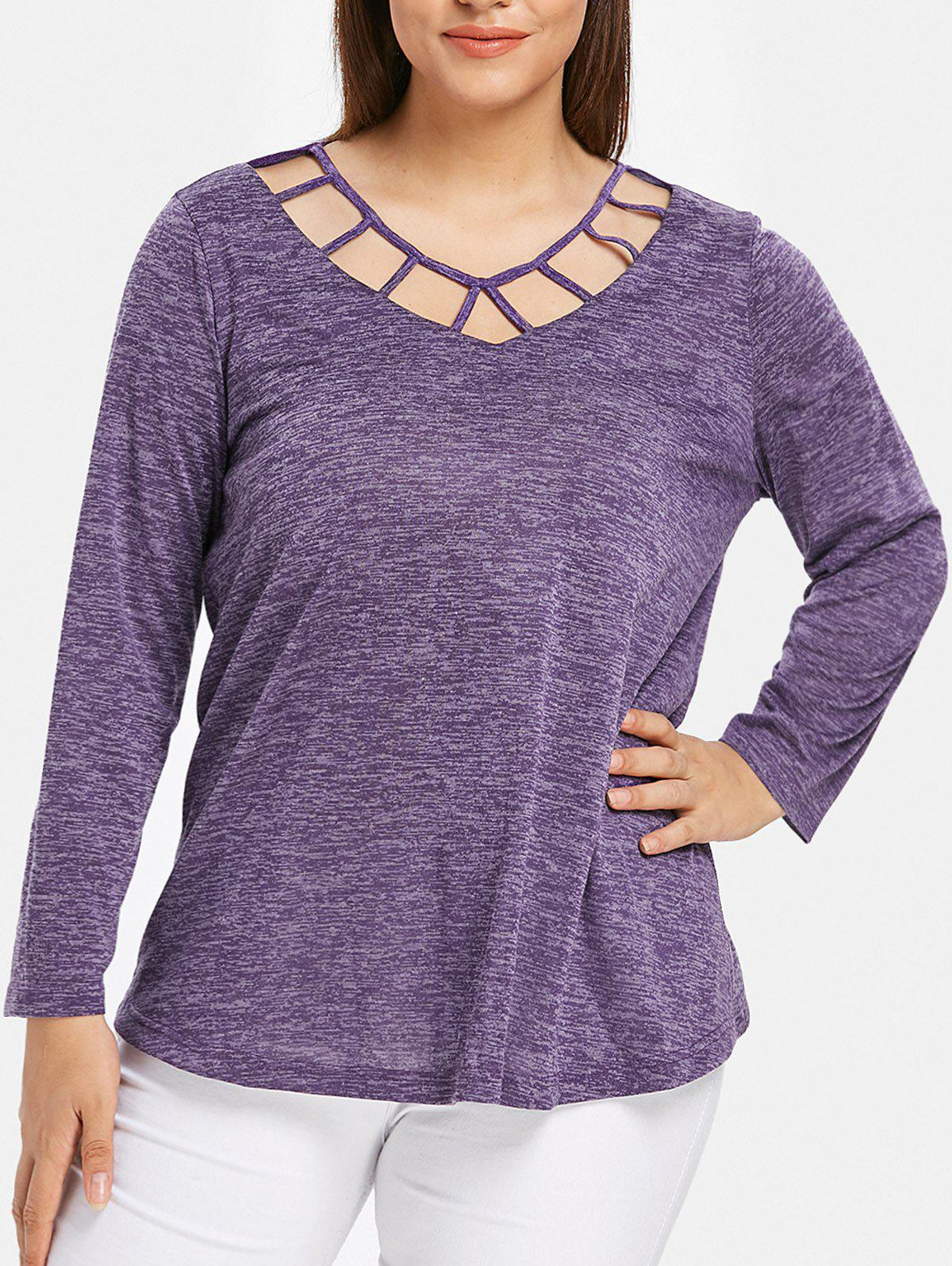 Space Dye Cutout Plus Size T-shirt - PURPLE IRIS L