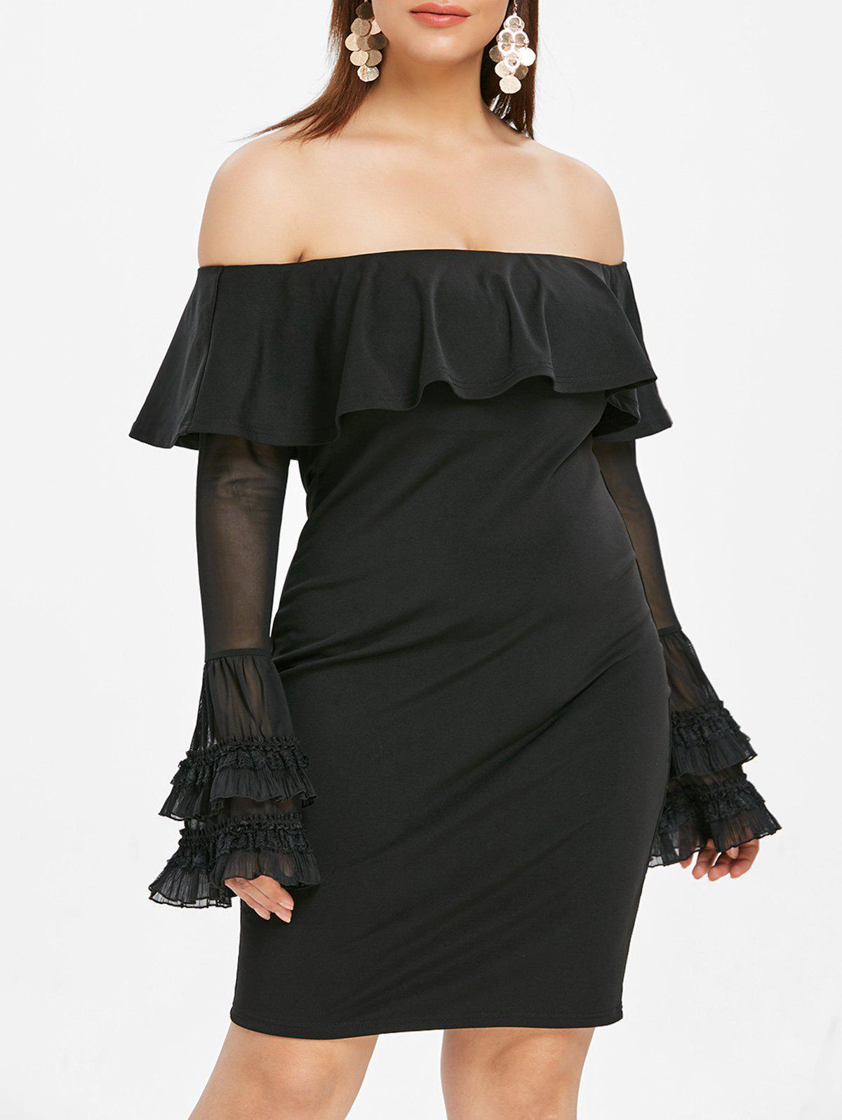Plus Size Off The Shoulder Ruffle Panel Dress - BLACK 3X