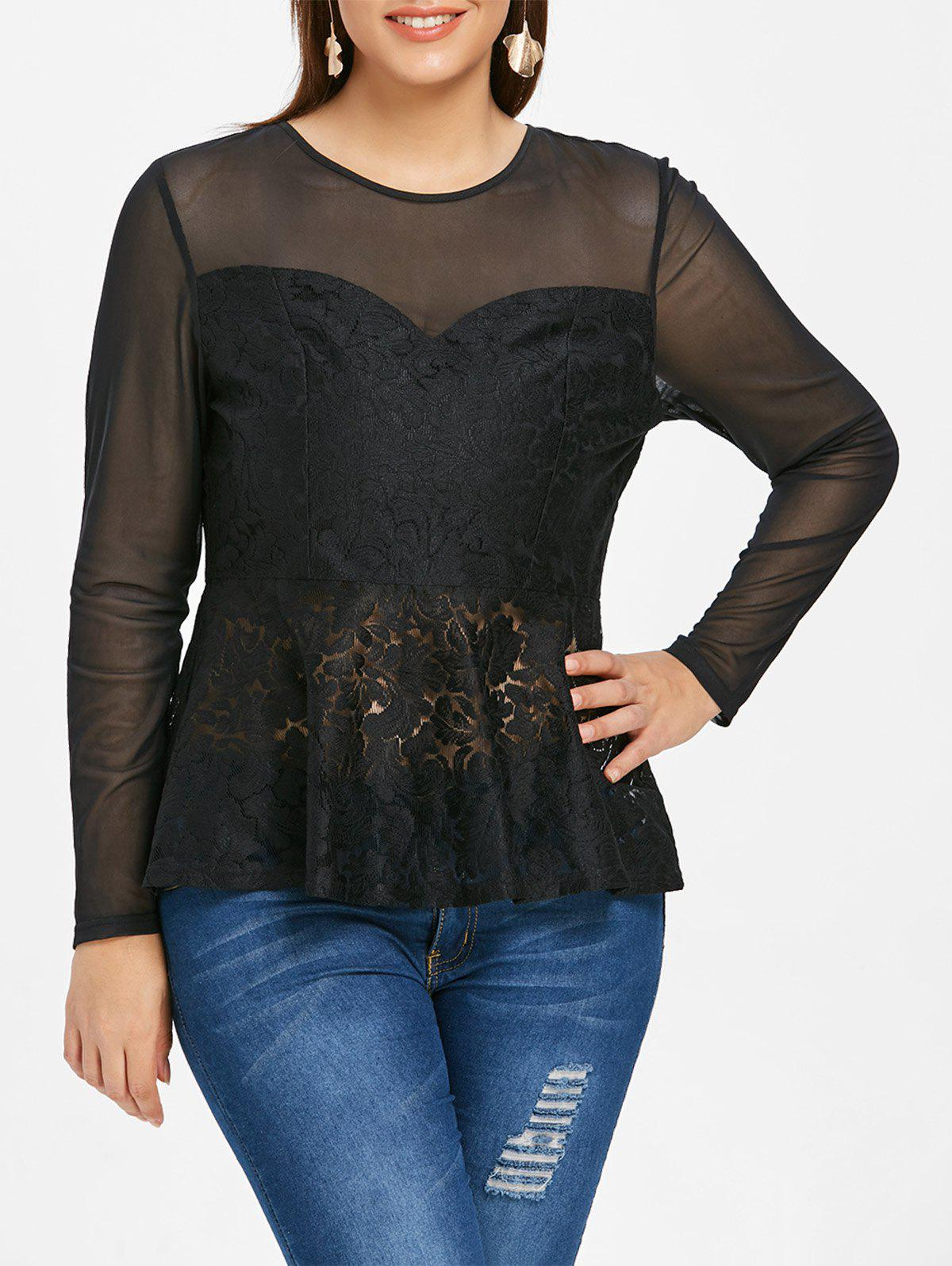 Plus Size Mesh and Lace Panel T-shirt - BLACK 4X