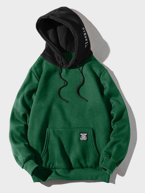 Contrast Letter Patch Detail Pouch Pocket Fleece Hoodie - MEDIUM SEA GREEN XS