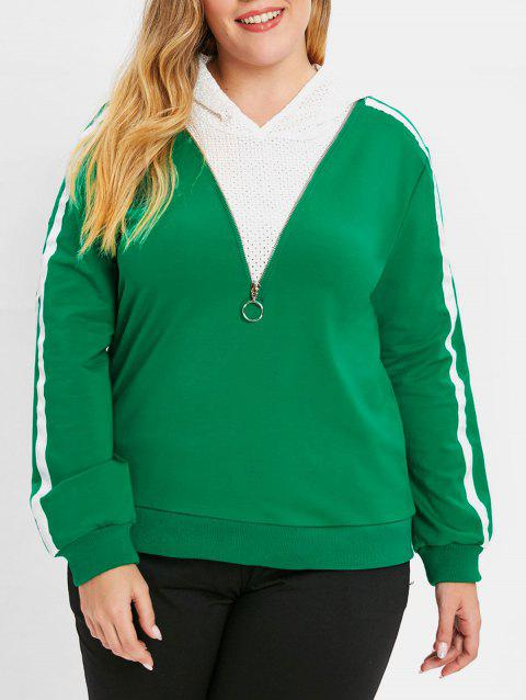 Plus Size Striped Casual Hoodie - GREEN 1X