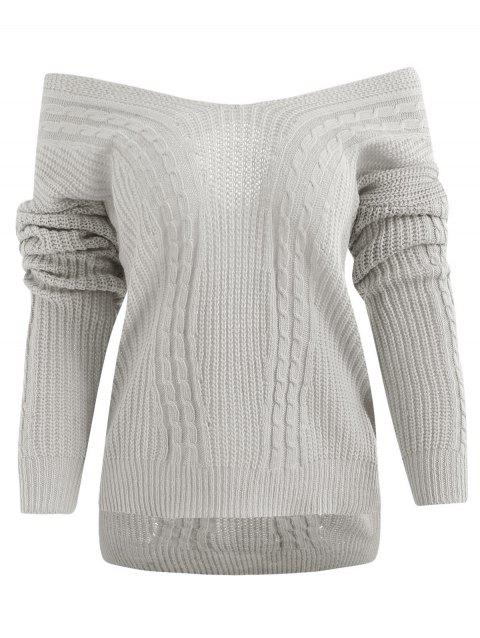 Crisscross Off Shoulder High Low Sweater - GRAY ONE SIZE