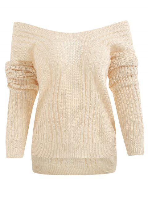 Crisscross Off Shoulder High Low Sweater - WHITE ONE SIZE