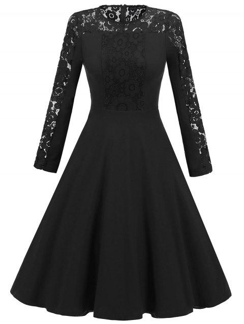 Lace Panel A Line Long Sleeve Dress - BLACK L