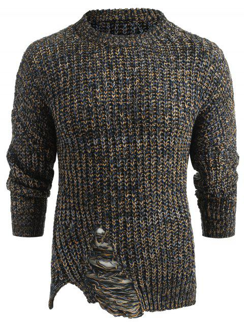 Ripped Long Sleeve Sweater - multicolor M