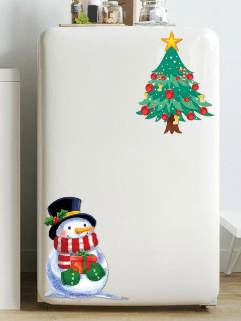 Christmas Tree Snowman Pattern Removable Wall Sticker - SEAWEED GREEN