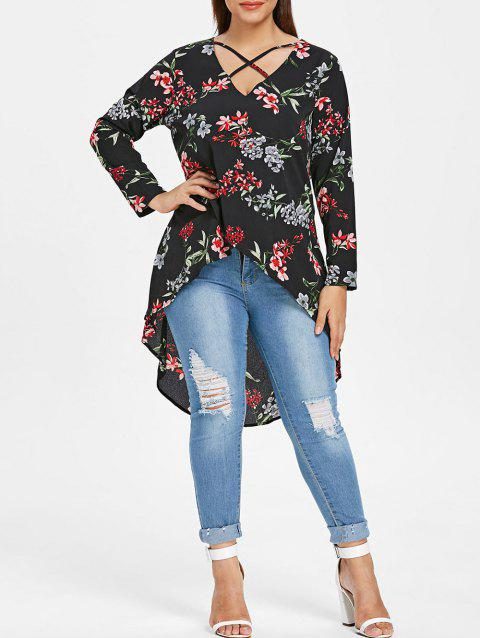 799b7ca452f 41% OFF  2019 Plus Size Floral Print High Low Long Blouse In BLACK ...