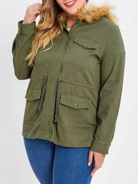 Button Up Parka Jacket - ARMY GREEN 1X
