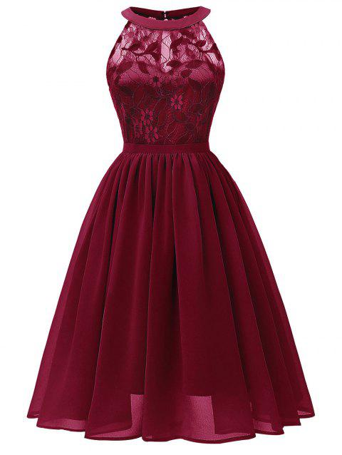 Lace Insert Chiffon Prom Dress - RED WINE M