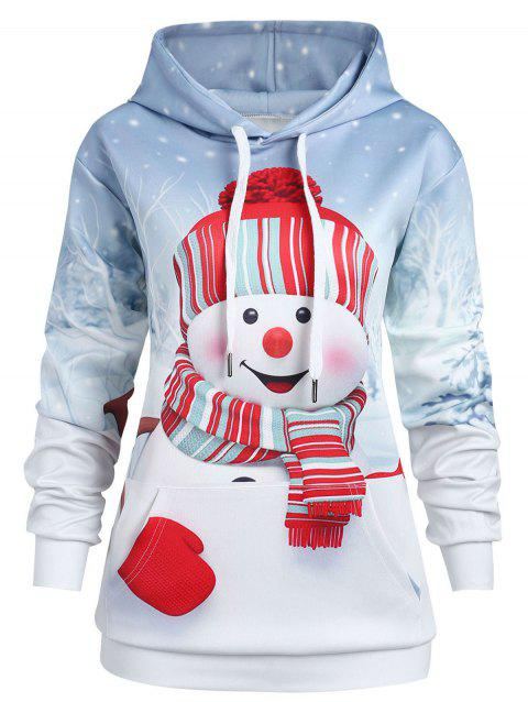 Christmas Kangaroo Pocket Plus Size Hoodie - multicolor 1X