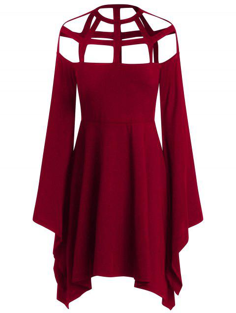 Cut Out Flare Long Sleeves Asymmetric Halloween Cosplay Dress - RED WINE 2XL