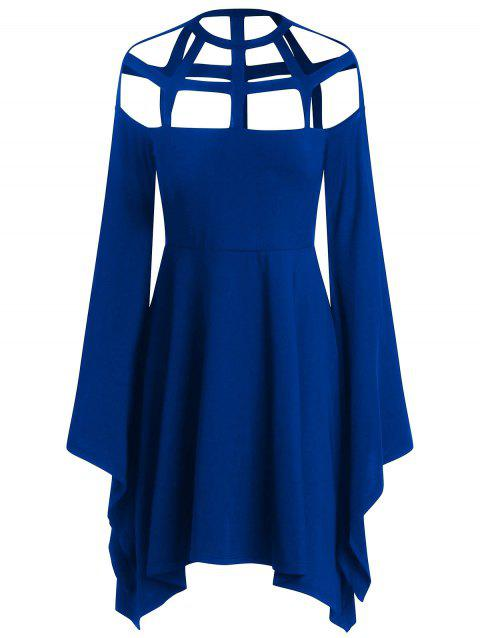 Cut Out Flare Long Sleeves Asymmetric Halloween Cosplay Dress - BLUE M
