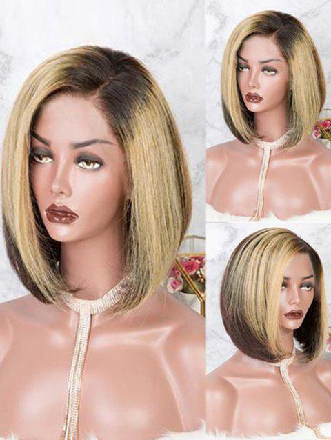 Short Capless Side Parting Colormix Straight Bob Synthetic Wig - multicolor