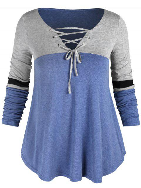 Plus Size Lace Up Color Block T-shirt - SKY BLUE 1X