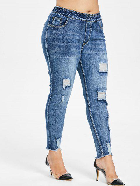 Ripped Skinny Plus Size Jeans - DENIM BLUE 4X