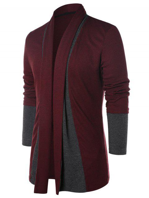 Color Block Long Sleeve Coat - RED WINE XL