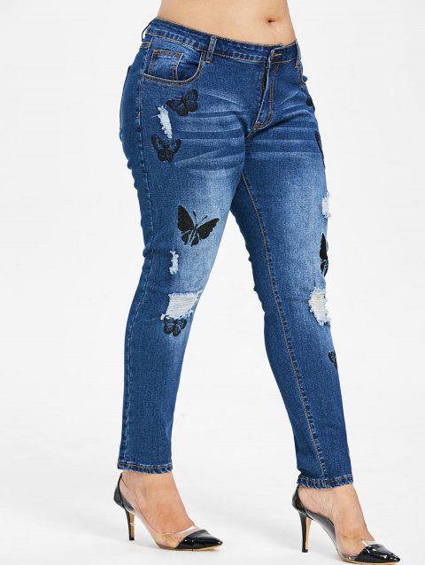 Plus Size Butterfles Embroidered Ripped Jeans - DENIM BLUE 1X