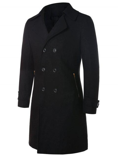 Long manteau à double boutonnage - Noir 2XL