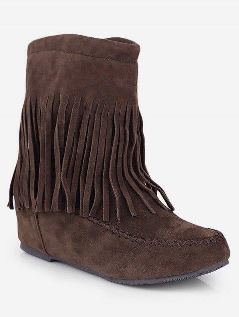 Plus Size Moc Toe Tassels Suede Boots - DEEP BROWN EU 40