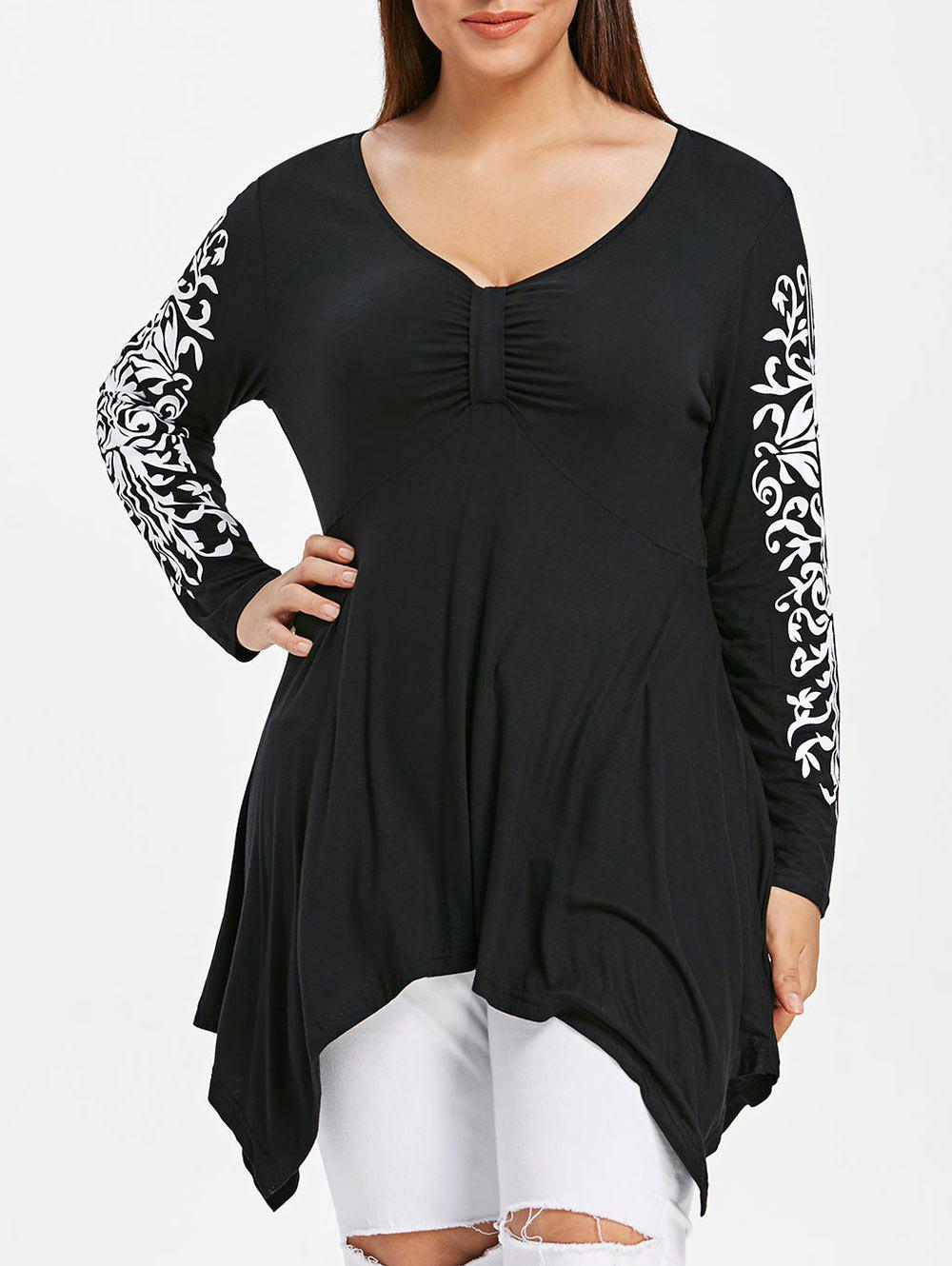 Plus Size Ethnic Print Asymmetric T-shirt
