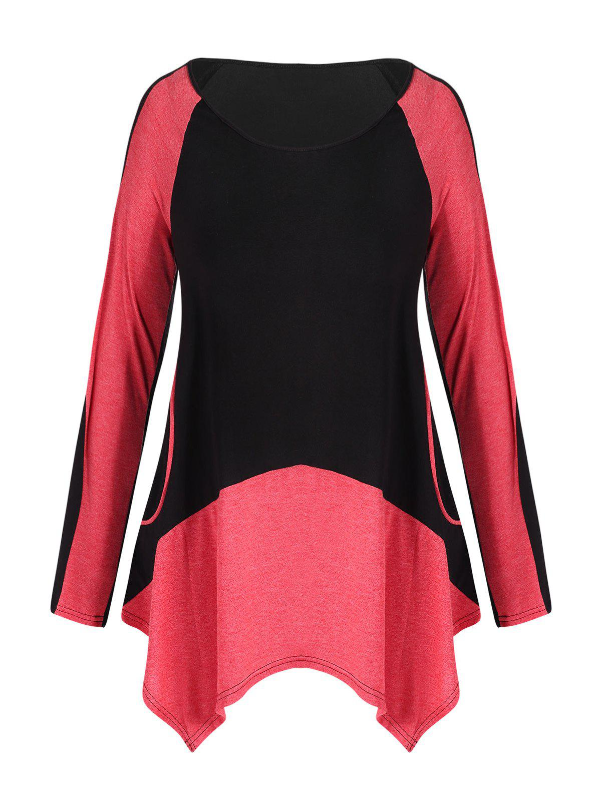 Color Block Plus Size Asymmetrical T-shirt - BLACK L