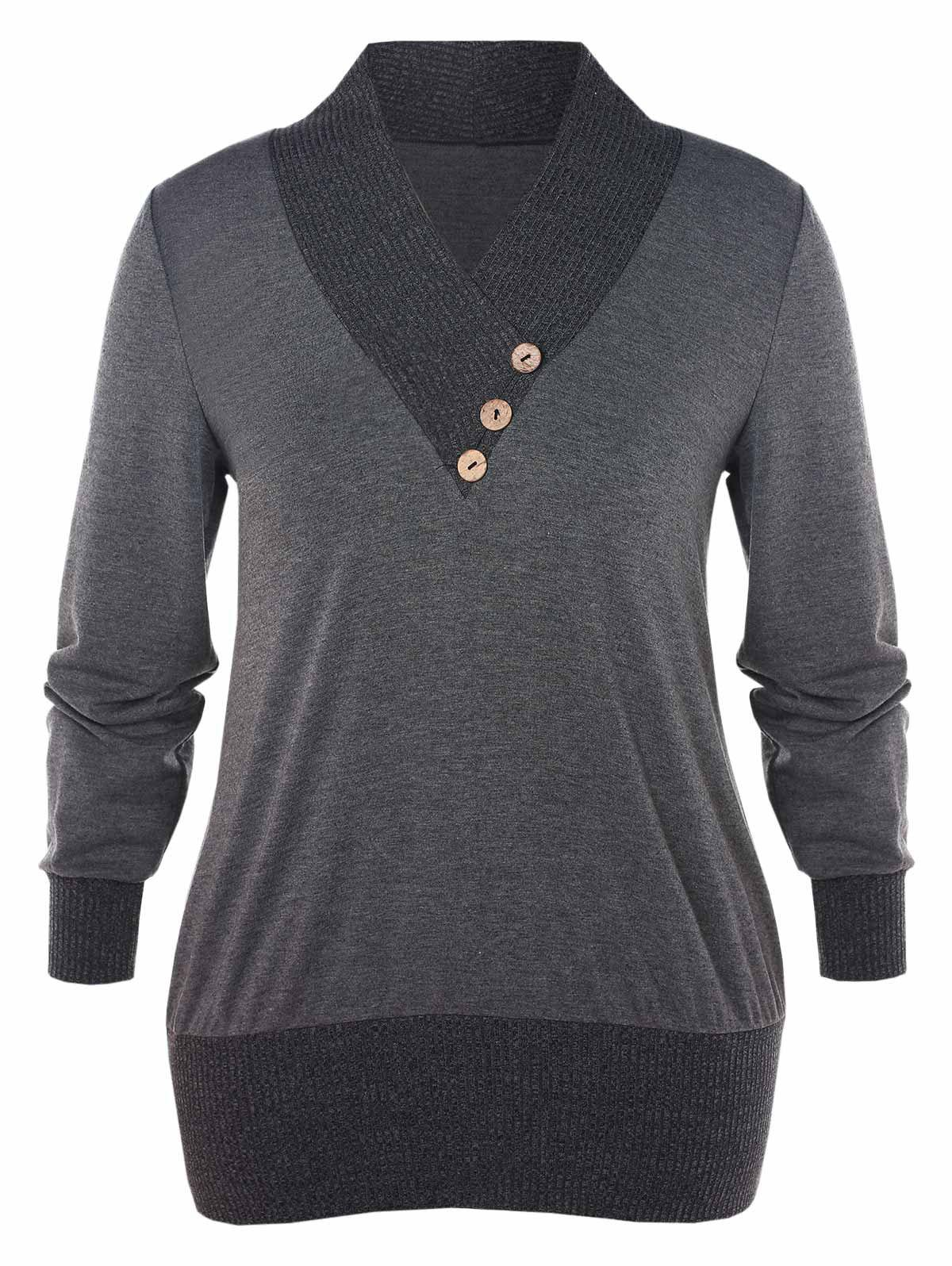 Plus Size Contrast Shawl Collar T-shirt