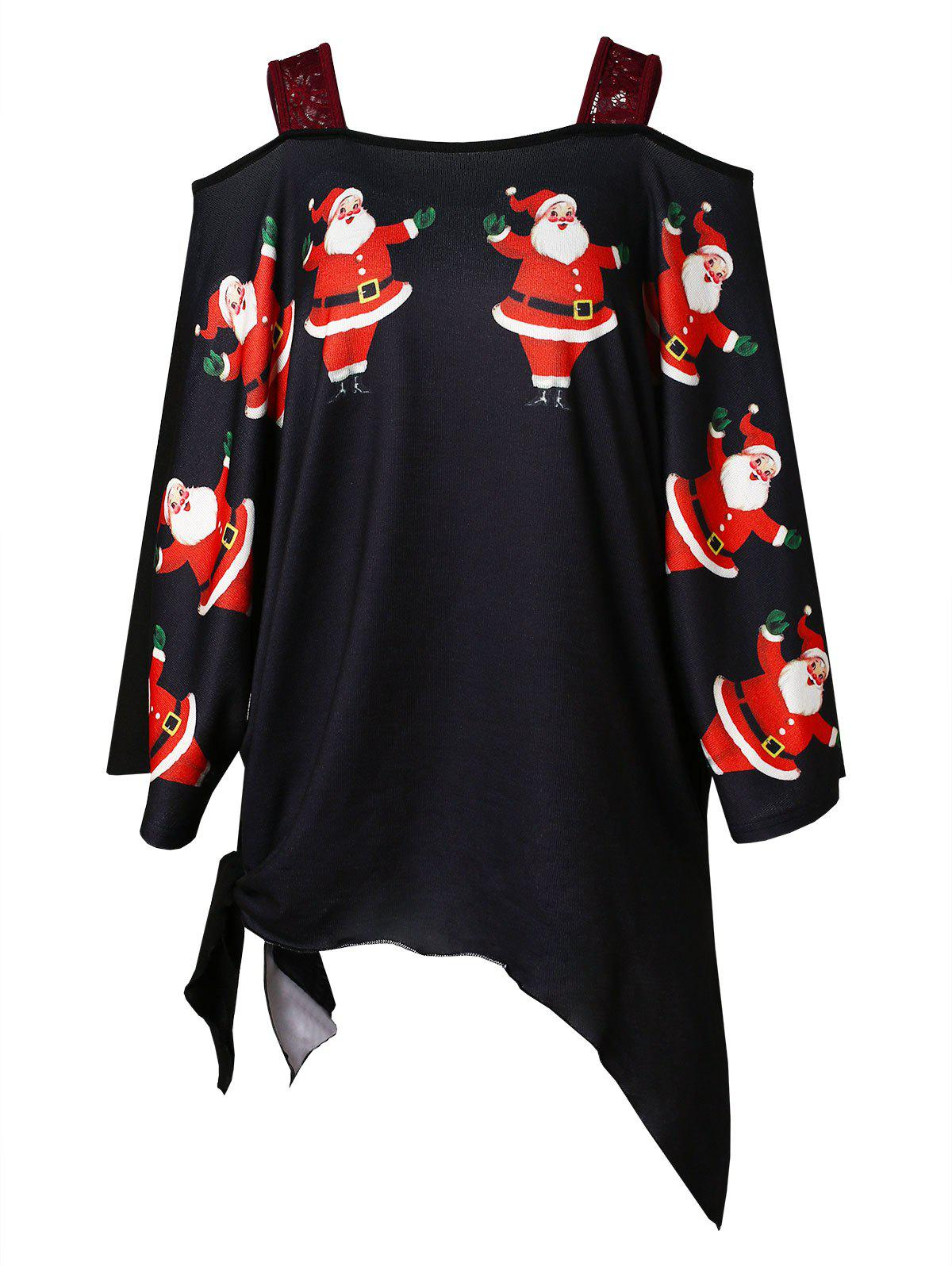 Plus Size Christmas Santa Claus Print Asymmetrical T-shirt