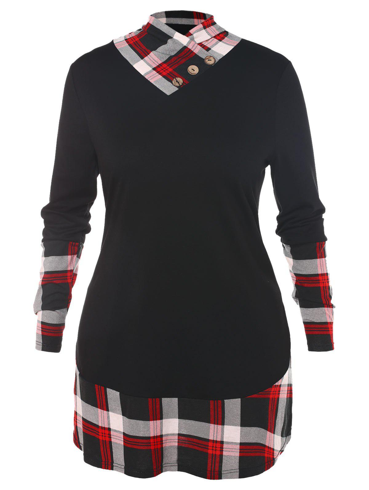 Plus Size Plaid Panel Buttons Long Sleeves Tee