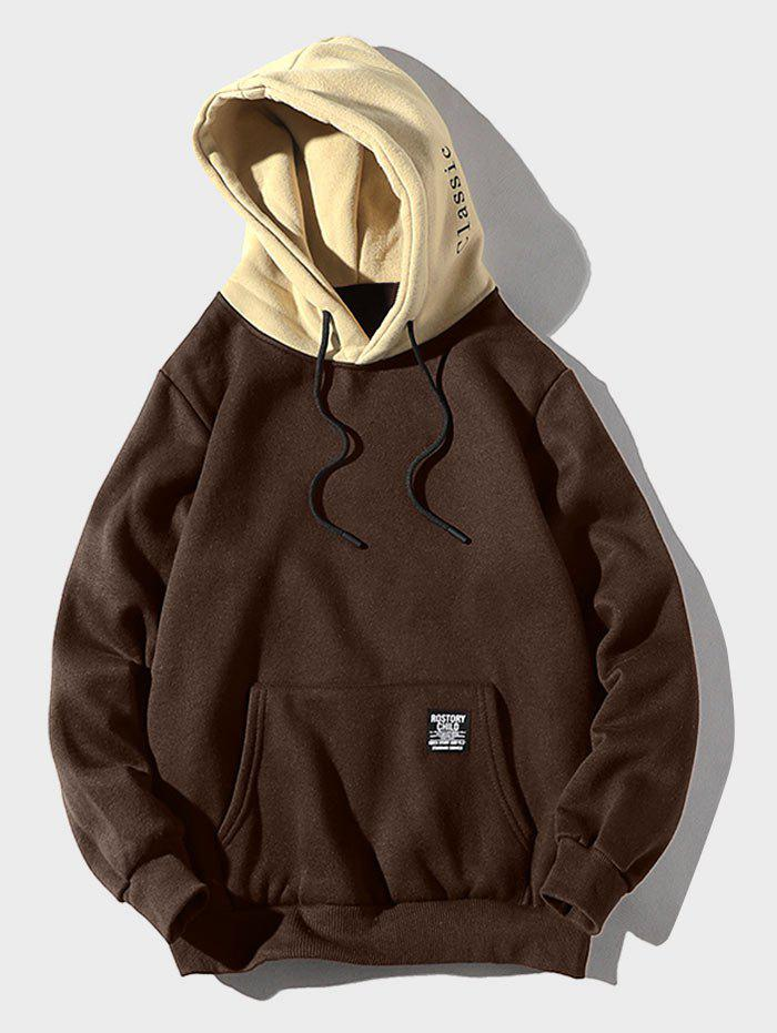 Contrast Letter Patch Detail Pouch Pocket Fleece Hoodie - COFFEE XS