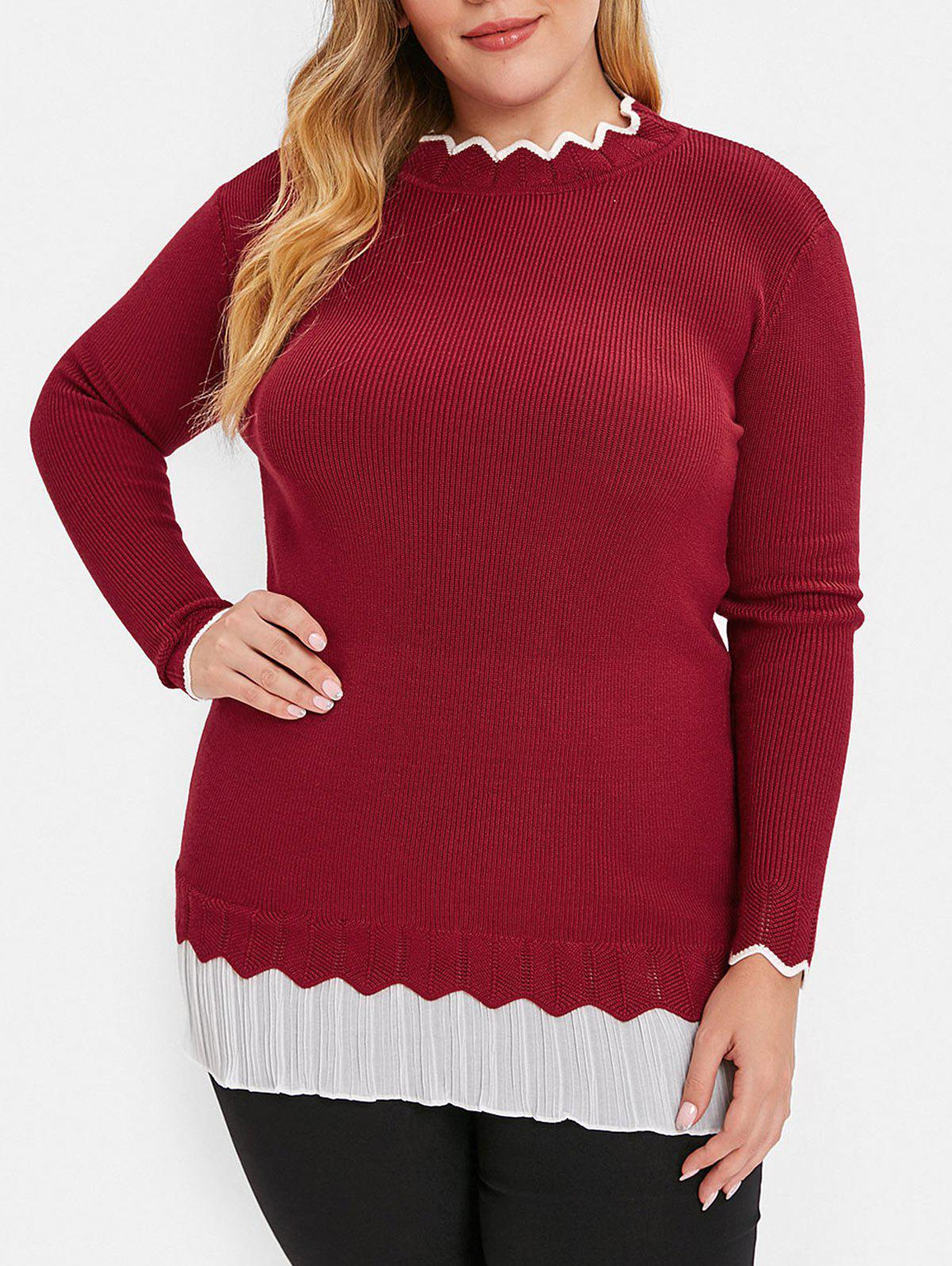 Plus Size Pleated Scalloped Sweater - RED L