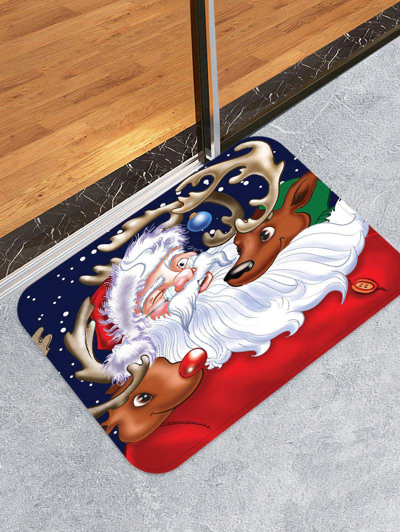 Father Christmas Deer Decorative Floor Mat - RED W16 X L24 INCH
