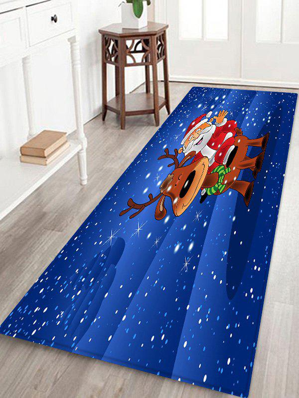 Father Christmas Deer Printed Decorative Floor Mat - BLUEBERRY BLUE W16 X L47 INCH