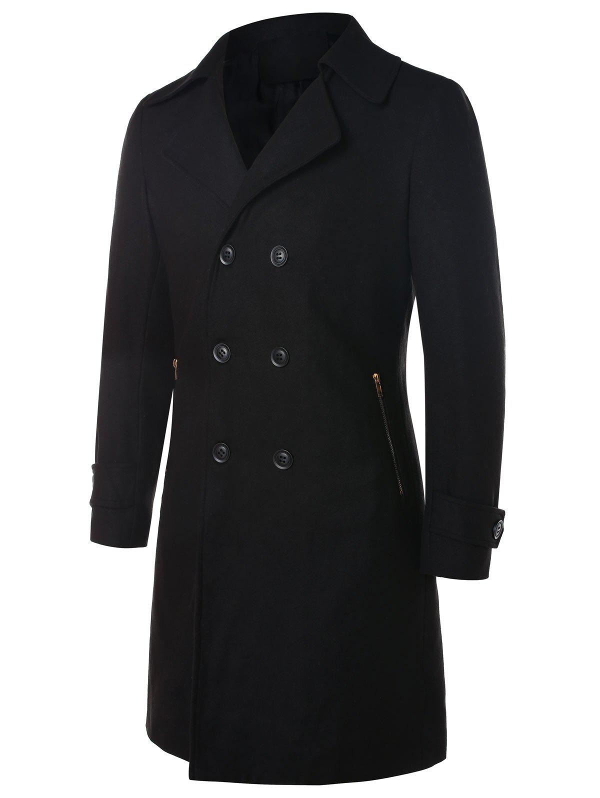 Manteau Long à Double Boutonnage à Col Revers - Noir 2XL