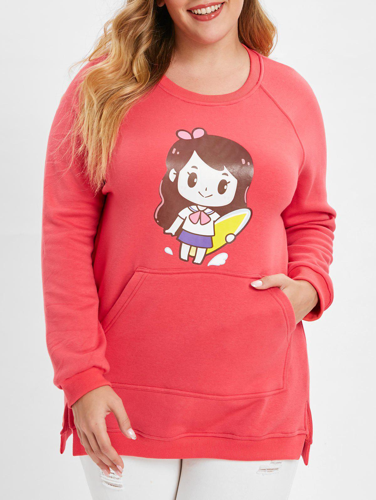 Plus Size Kangaroo Pocket Printed Sweatshirt