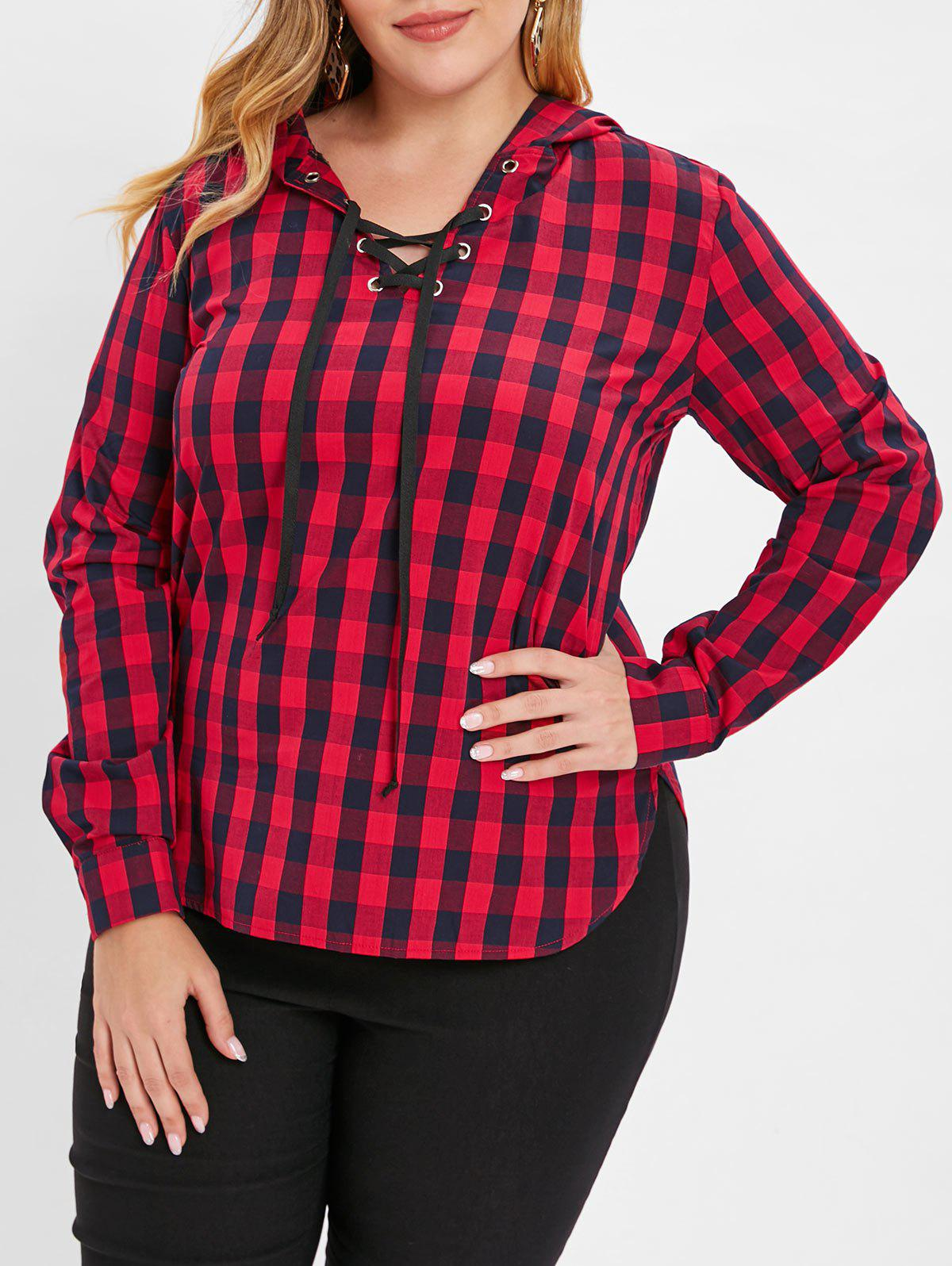 Plus Size Lace Up Plaid Pullover Hoodie - RED 4X