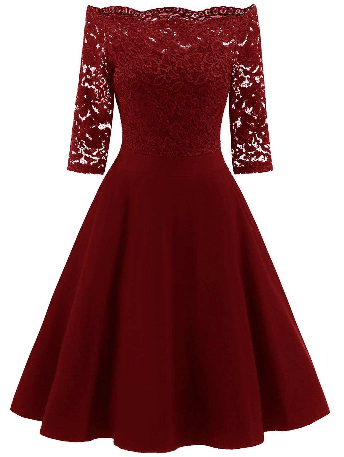 Off Shoulder Scalloped Lace Panel Dress - RED WINE S