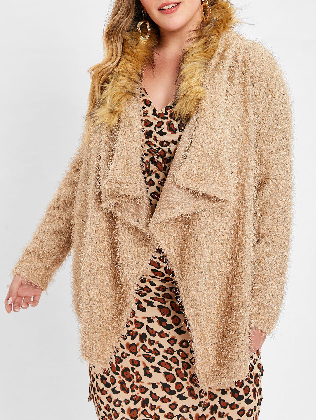 Plus Size Faux Fur Trim Open Front Cardigan