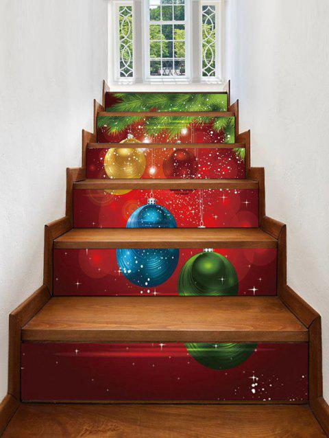 Christmas Balls Pattern Removable Stair Stickers - multicolor 6PCS X 39 X 7 INCH( NO FRAME )
