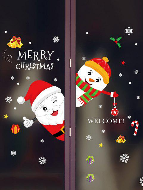 Merry Christmas Snowman Removable Wall Sticker - LAVA RED