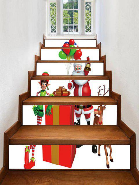 Father Christmas Deer Gift Printed Removable Stair Stickers - WHITE 6PCS X 39 X 7 INCH( NO FRAME )