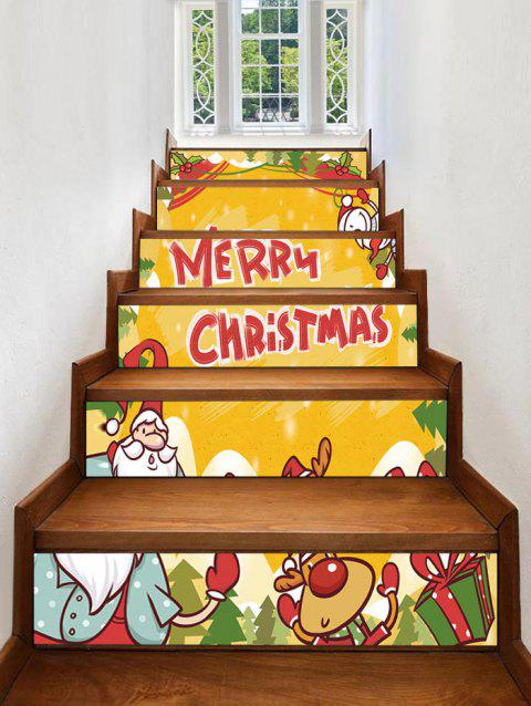 Merry Christmas Deer Gift Printed Removable Stair Stickers - BRIGHT YELLOW 6PCS X 39 X 7 INCH( NO FRAME )