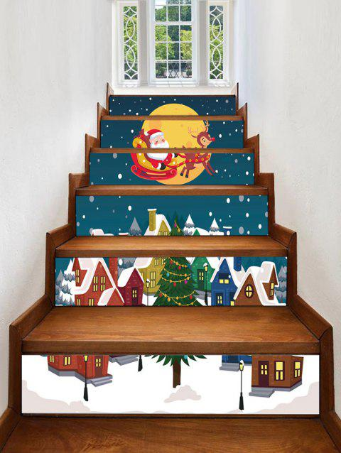 Father Christmas Tree Deer Removable Stair Stickers - BLUE 6PCS X 39 X 7 INCH( NO FRAME )