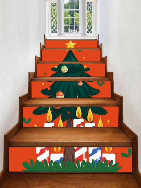 Christmas Tree Star Printed Removable Stair Stickers - CHESTNUT RED 6PCS X 39 X 7 INCH( NO FRAME )