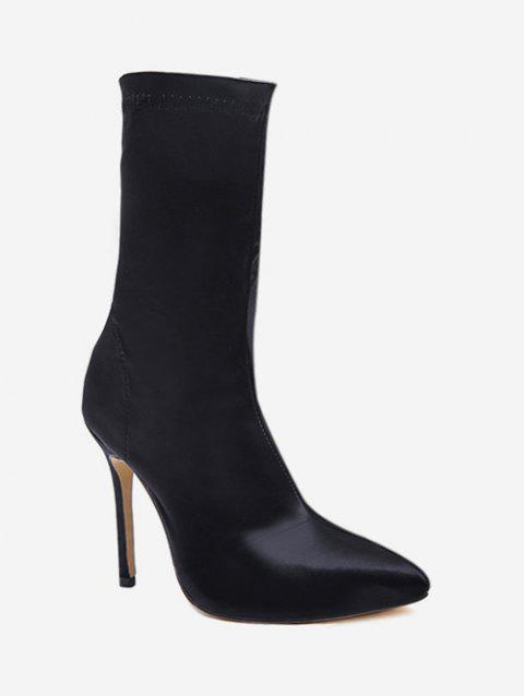 Pointed Toe High Heel Sock Boots - BLACK EU 38
