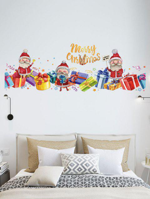 Merry Christmas Santa Claus Gift Removable Wall Sticker - LAVA RED
