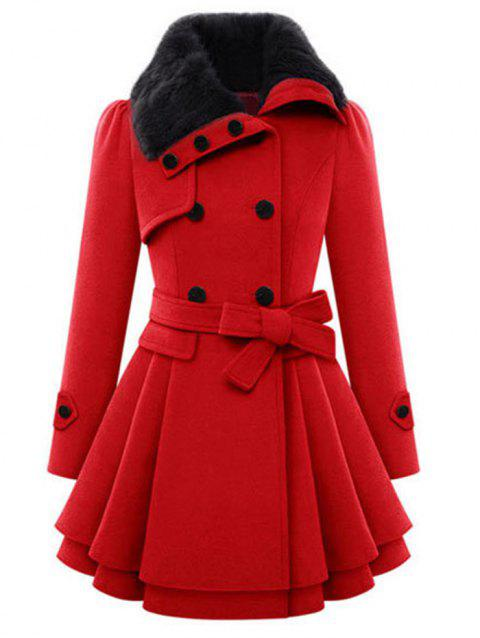 Double Breasted Turn Down Collar Coat - RED L